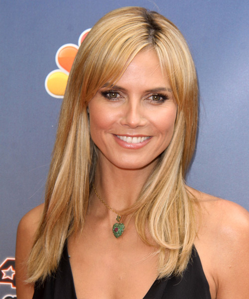 Heidi Klum Long Straight Casual    Hairstyle   - Medium Honey Blonde Hair Color with Light Blonde Highlights