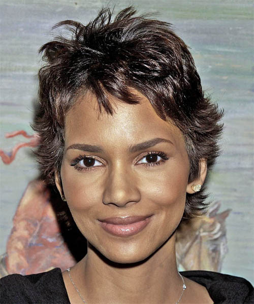 Halle Berry Short Straight Casual    Hairstyle   - Dark Chocolate Brunette Hair Color