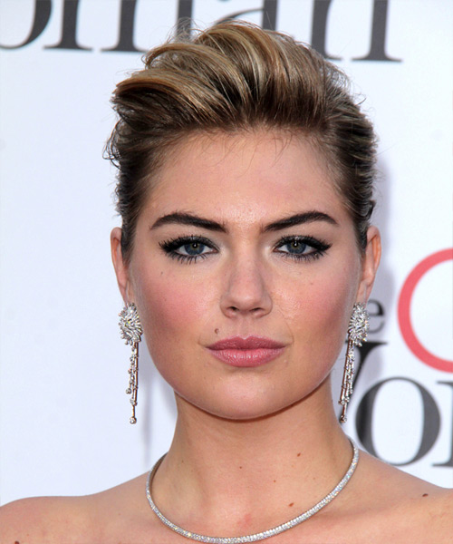 Kate Upton  Long Straight   Dark Blonde  Updo    with  Blonde Highlights