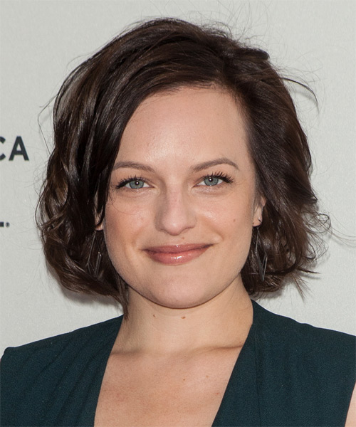 Elisabeth Moss Medium Wavy    Chocolate Brunette   Hairstyle