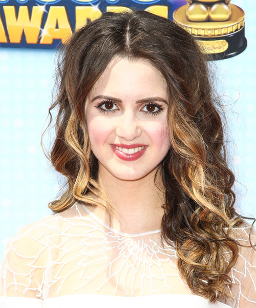 Laura Marano Long Curly Casual    Hairstyle   -  Brunette Hair Color with Light Blonde Highlights