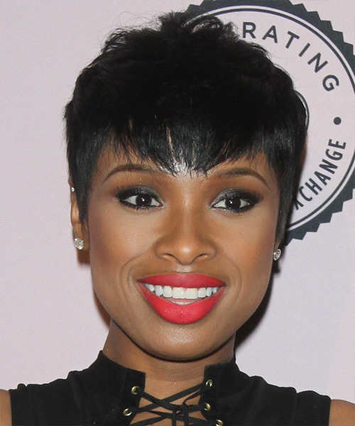 Jennifer Hudson Short Straight Casual    Hairstyle with Layered Bangs  - Black  Hair Color