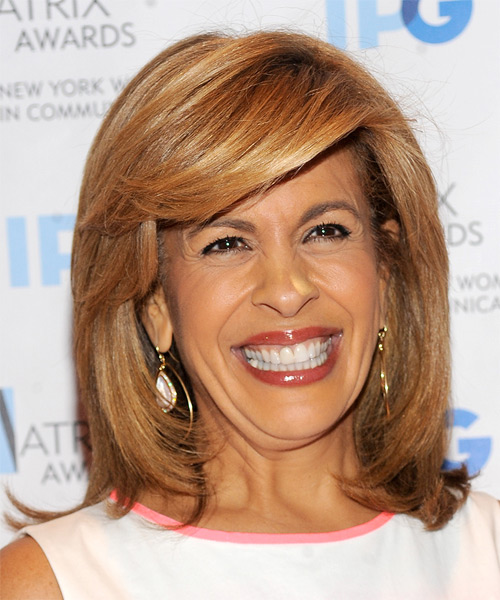 Hoda Kotb Medium Straight Formal   Hairstyle with Side Swept Bangs  - Light Brunette (Copper)