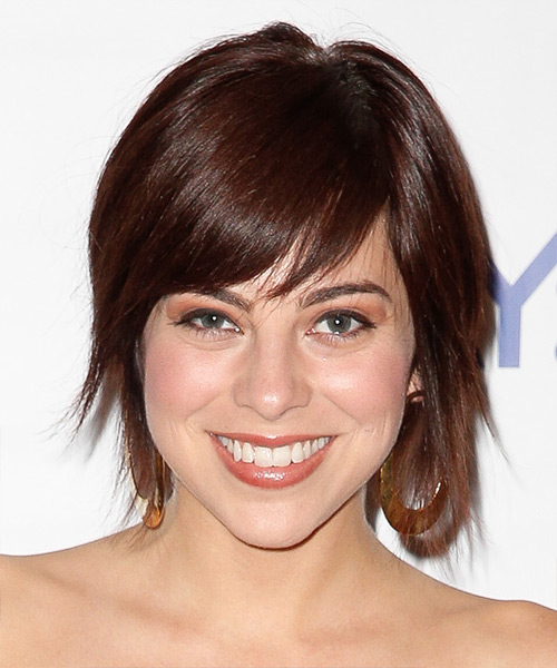 Krysta Rodriguez Medium Straight Dark Red Hairstyle with Side Swept Bangs