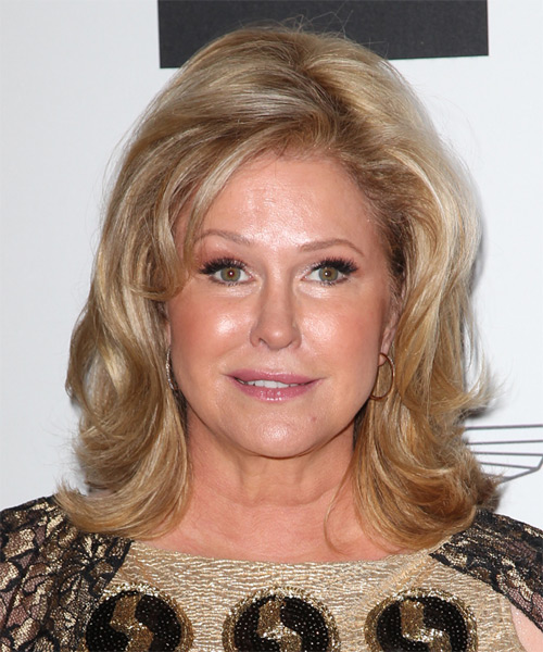 Kathy Hilton Medium Straight Formal    Hairstyle   - Dark Honey Blonde Hair Color with Light Blonde Highlights