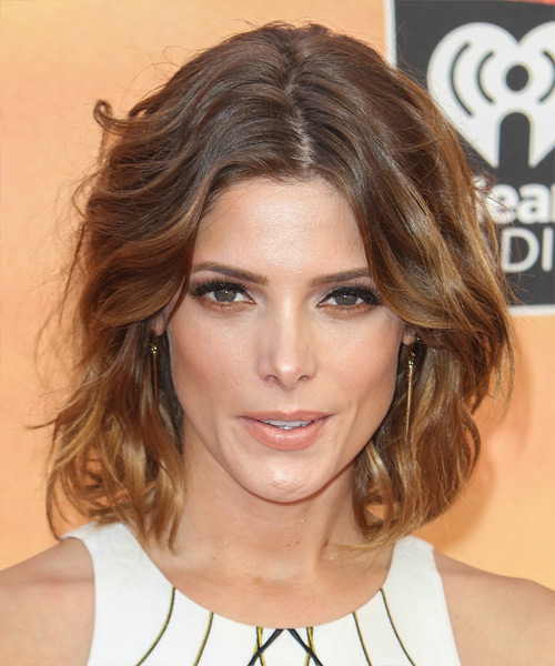 Ashley Greene Medium Wavy Casual    Hairstyle   - Medium Chestnut Brunette Hair Color