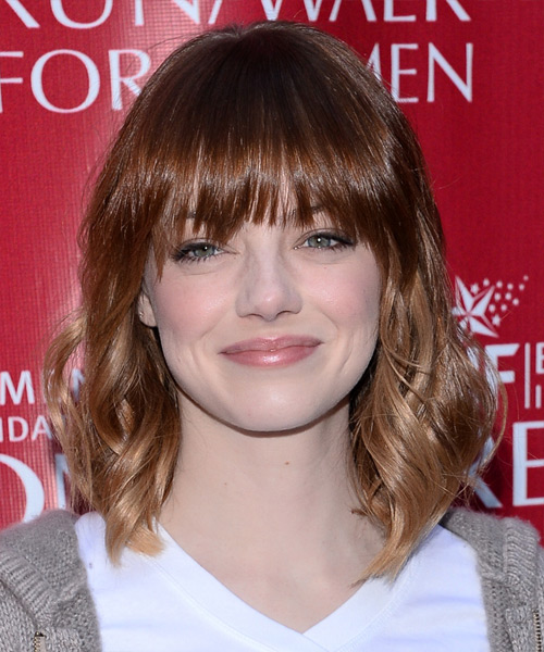 Emma Stone Medium Wavy Casual   Hairstyle with Layered Bangs  - Medium Brunette (Mahogany)