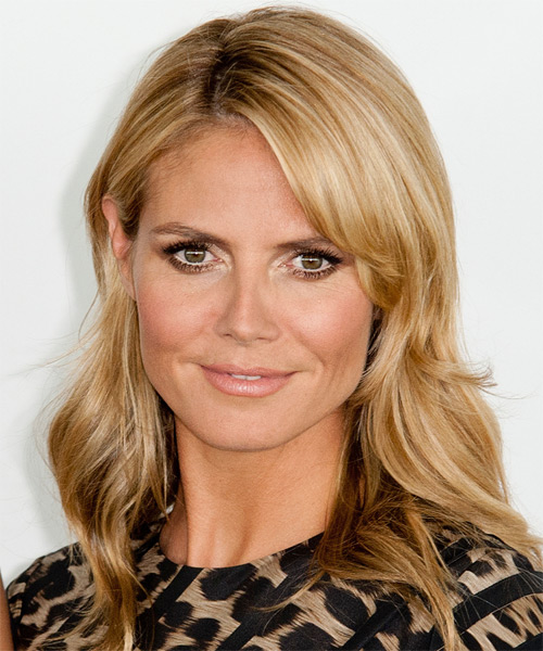 Heidi Klum Medium Straight Casual    Hairstyle   - Medium Honey Blonde Hair Color with Light Blonde Highlights