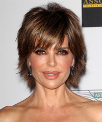 Lisa Rinna Short Straight Casual    Hairstyle with Side Swept Bangs  -  Chocolate Brunette Hair Color