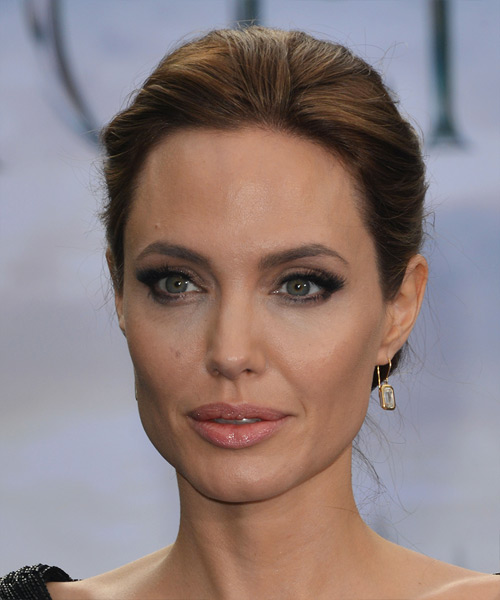 Angelina Jolie Updo Long Straight Formal Wedding Updo Hairstyle   - Medium Brunette
