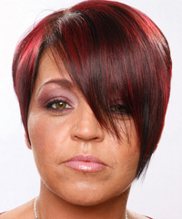 Short Straight Casual    Hairstyle   - Dark Red Hair Color