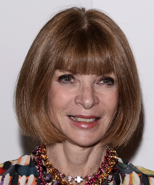 Anna Wintour Medium Straight Formal  Bob  Hairstyle with Blunt Cut Bangs  -  Caramel Brunette Hair Color