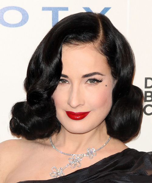 Dita Von Teese Medium Wavy Formal    Hairstyle   - Black Ash  Hair Color