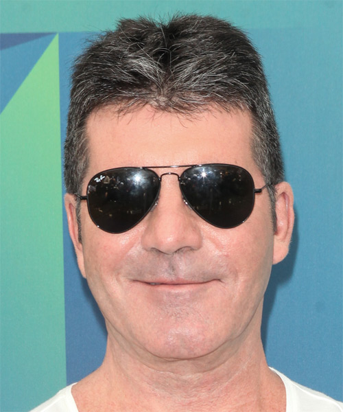 Simon Cowell Short Straight Casual   Hairstyle   - Medium Grey