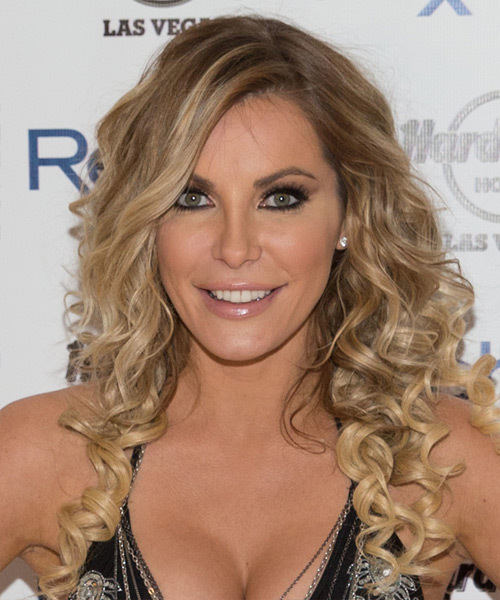 Crystal Hefner Long Curly Formal    Hairstyle   -  Blonde Hair Color with Light Blonde Highlights