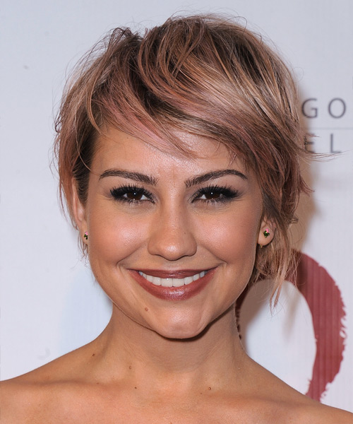 Chelsea Kane Short Straight Casual    Hairstyle with Side Swept Bangs  - Pink  Hair Color