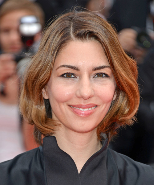 Sofia Coppola Medium Straight Casual    Hairstyle   -  Copper Brunette Hair Color