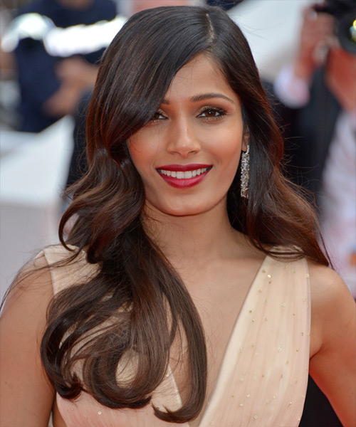 Freida Pinto Long Straight Formal    Hairstyle   - Dark Brunette Hair Color