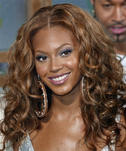 Beyonce Long Curly Brunette hairstyle - Dark Skin Tone