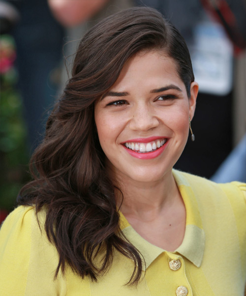 America Ferrera Long Wavy Formal   Hairstyle   - Dark Brunette (Mocha)