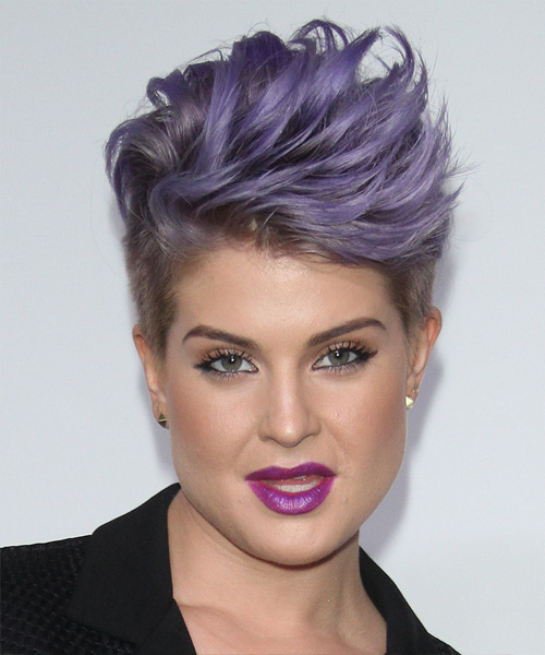 Kelly Osbourne Short Straight Formal    Hairstyle   - Purple  Hair Color