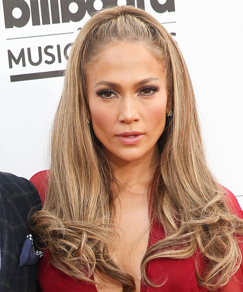 Jennifer Lopez Long Straight   Light Caramel Brunette   Hairstyle   with  Blonde Highlights