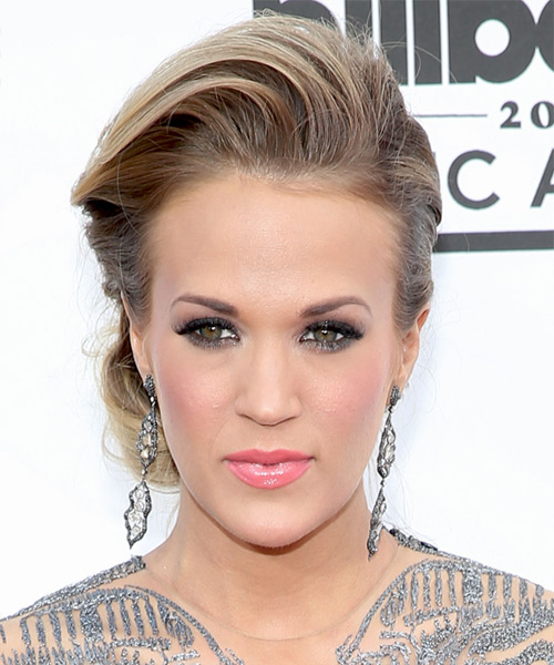 Carrie Underwood Updo Long Straight Formal Wedding Updo Hairstyle   - Dark Blonde