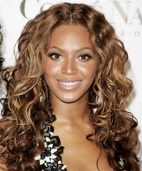 Beyonce Knowles Long Curly Casual    Hairstyle   -  Chestnut Brunette and Dark Brunette Two-Tone Hair Color