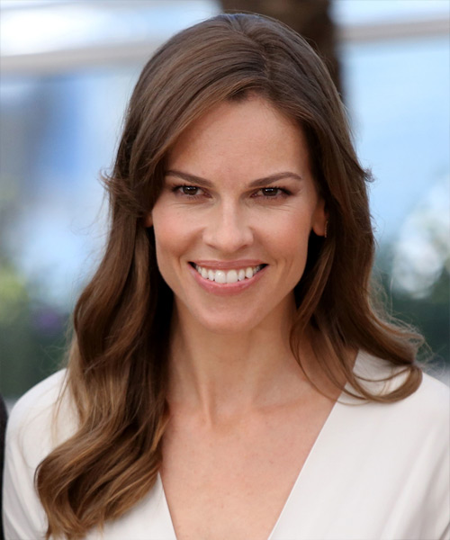 Hilary Swank Long Wavy Casual    Hairstyle   -  Brunette Hair Color