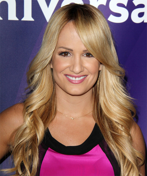 Jenn Brown Long Wavy Formal    Hairstyle with Side Swept Bangs  -  Blonde Hair Color