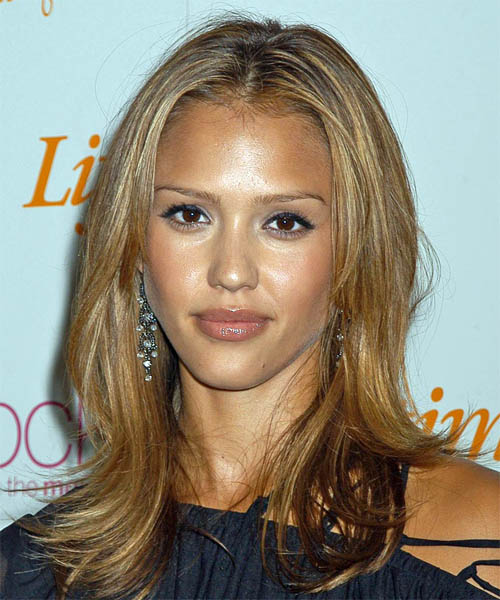 Jessica Alba Long Straight   Dark Blonde and  Brunette Two-Tone   Hairstyle