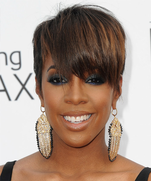 Kelly Rowland Short Straight Formal   Hairstyle with Layered Bangs  - Medium Brunette
