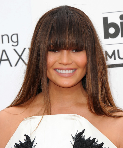 Christine Teigen Long Straight Formal   Hairstyle with Blunt Cut Bangs  - Medium Brunette
