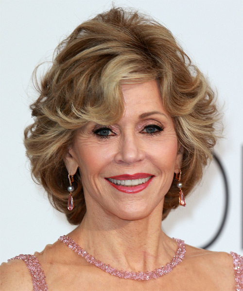 Jane Fonda Short Straight Formal    Hairstyle with Side Swept Bangs  - Light Caramel Brunette Hair Color with Light Blonde Highlights