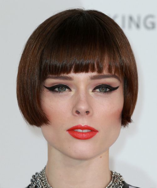Coco Rocha Short Straight Pageboy Bob with Blunt Cut Bangs