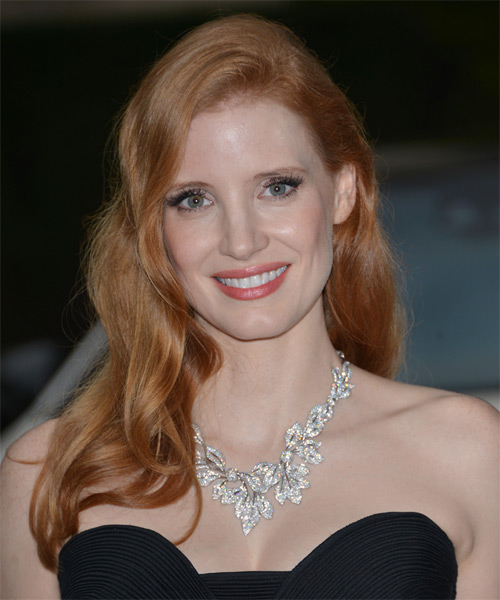 Jessica Chastain Long Straight    Copper Red   Hairstyle
