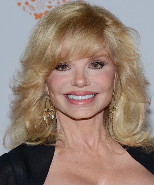 Loni Anderson Medium Straight Formal   Hairstyle with Side Swept Bangs  - Light Blonde (Golden)