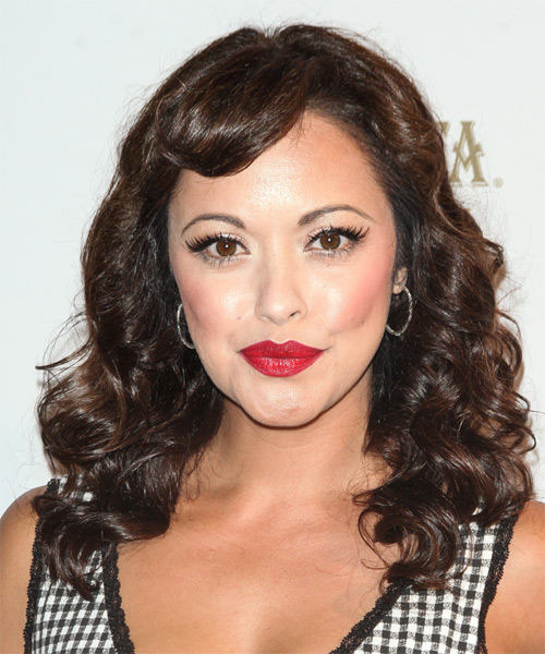 Marisa Ramirez Long Curly Formal   Hairstyle with Side Swept Bangs  - Medium Brunette