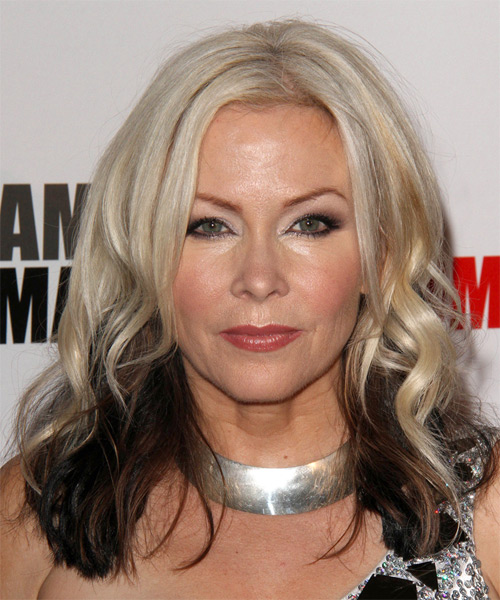 Terri Nunn Long Wavy Casual Hairstyle Light Blonde Champagne