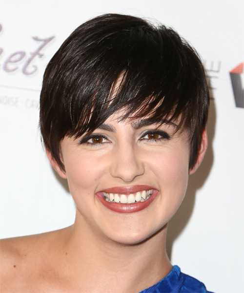 Jacqueline Toboni Short Straight Casual    Hairstyle with Side Swept Bangs  - Black  Hair Color