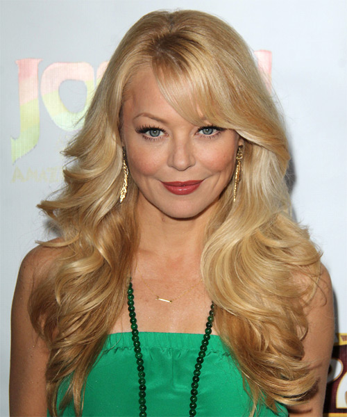 Charlotte Ross Long Wavy Formal    Hairstyle with Side Swept Bangs  -  Golden Blonde Hair Color