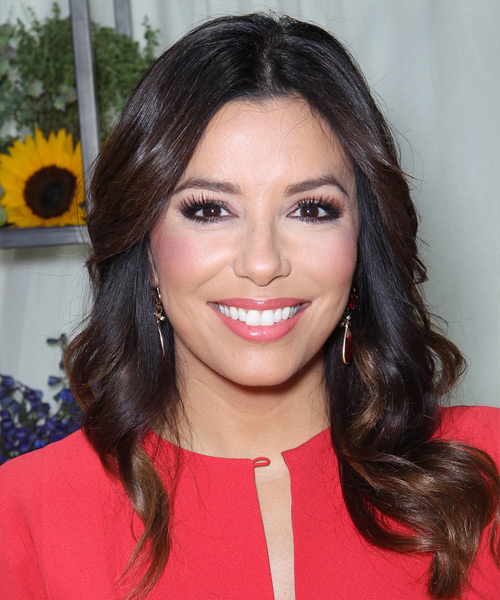 Eva Longoria Long Wavy Casual   Hairstyle   - Dark Brunette (Mocha)