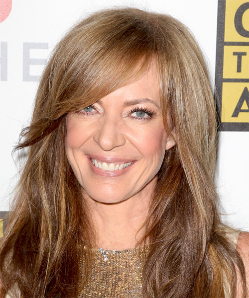 Allison Janney Long Straight Casual   Hairstyle with Side Swept Bangs  - Light Brunette (Chestnut)