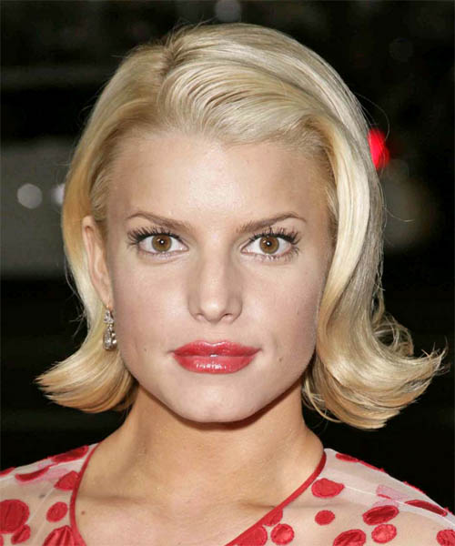 Jessica Simpson Medium Straight Formal  Bob  Hairstyle   - Light Golden Blonde Hair Color