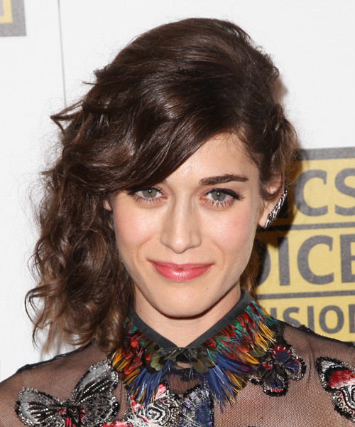Lizzy Caplan Long Curly    Brunette  Half Up Hairstyle