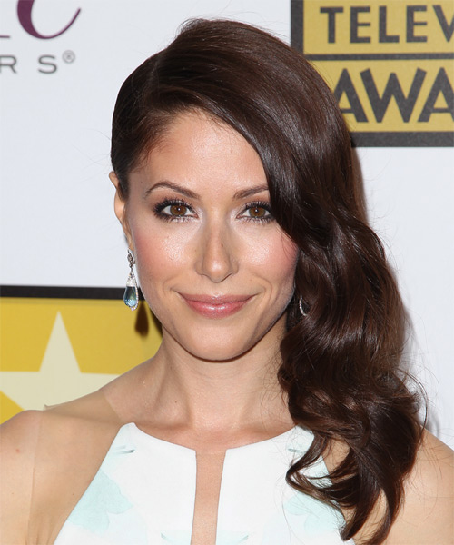 Amanda Crew Half Up Long Curly Formal  Half Up Hairstyle   - Dark Brunette (Chocolate)