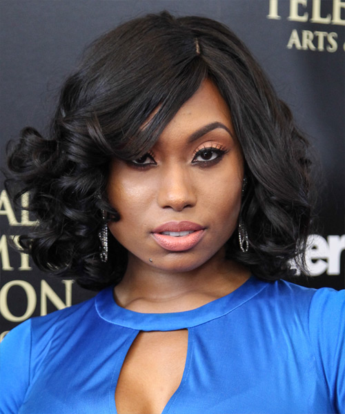 Angell Conwell Medium Curly Formal   Hairstyle with Side Swept Bangs  - Black