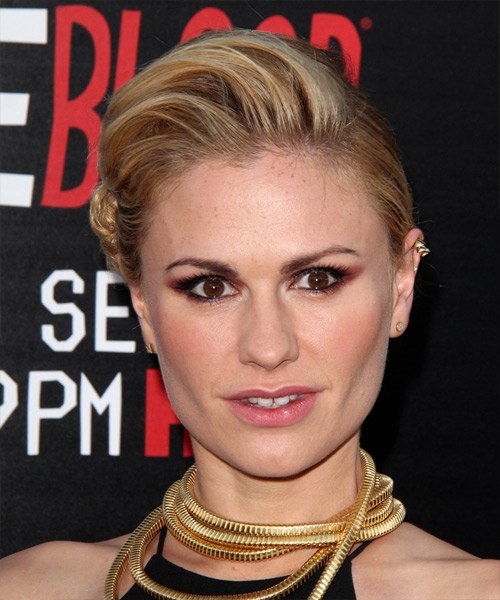 Anna Paquin Updo Long Straight Formal Wedding Updo Hairstyle   - Dark Blonde