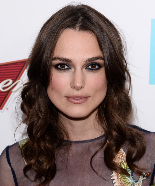 Keira Knightley Long Wavy Casual   Hairstyle   - Dark Brunette