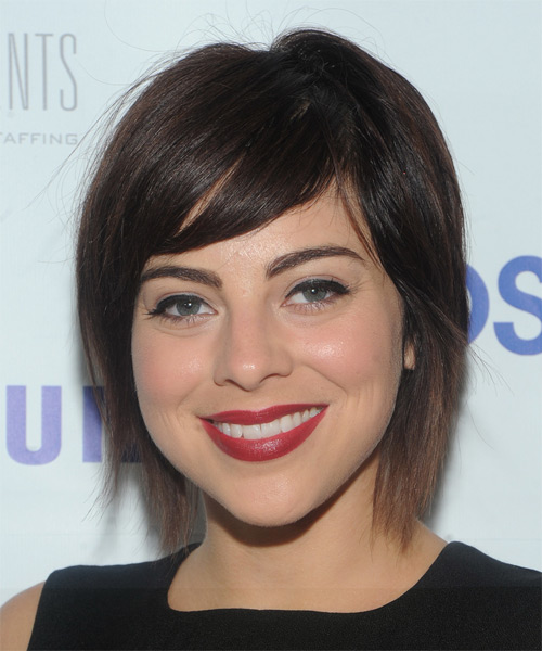 Krysta Rodriguez Short Straight Dark Brunette Hairstyle with Side Swept Bangs